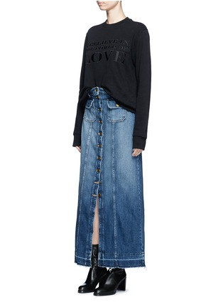 Figure View - Click To Enlarge - Current/Elliott - 'The Sally' raw hem button denim skirt
