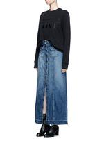 'The Sally' raw hem button denim skirt