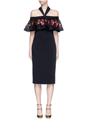 Main View - Click To Enlarge - Temperley London - 'Lyra' floral embroidery off-shoulder halter dress