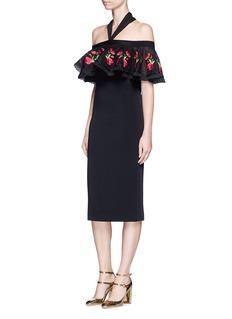Temperley London'Lyra' floral embroidery off-shoulder halter dress
