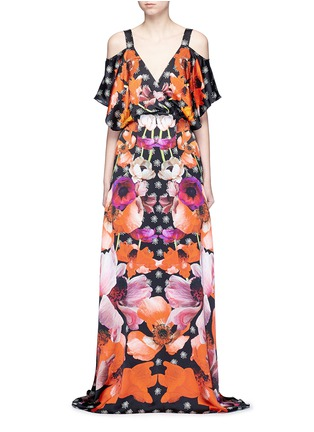 Main View - Click To Enlarge - Temperley London - 'Myrtle' poppy print cold-shoulder silk dress
