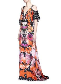 Temperley London'Myrtle' poppy print cold-shoulder silk dress