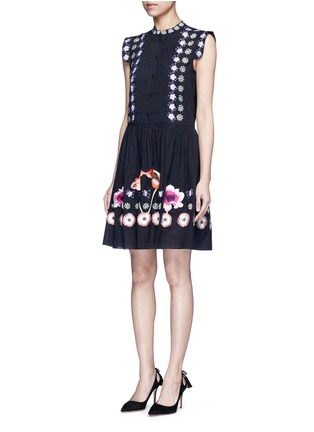 Figure View - Click To Enlarge - Temperley London - 'Sylvie' floral embroidery cotton-silk dress