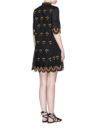 Back View - Click To Enlarge - Temperley London - 'Hika' mirror embroidery scalloped dress