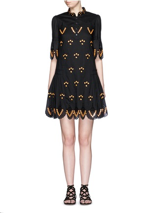 Main View - Click To Enlarge - Temperley London - 'Hika' mirror embroidery scalloped dress