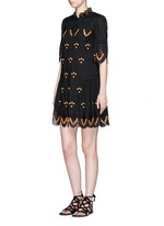 'Hika' mirror embroidery scalloped dress