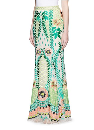 Front View - Click To Enlarge - Temperley London - 'Belle' floral embroidery tulle maxi fishtail skirt