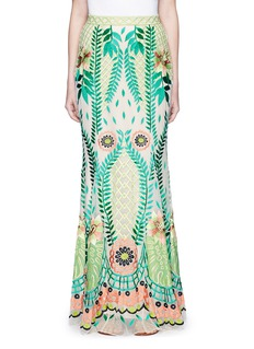 Temperley London 'Belle' floral embroidery tulle maxi fishtail skirt