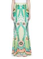'Belle' floral embroidery tulle maxi fishtail skirt