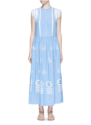 Main View - Click To Enlarge - Temperley London - 'Gilda' floral embroidery sleeveless chambray maxi dress