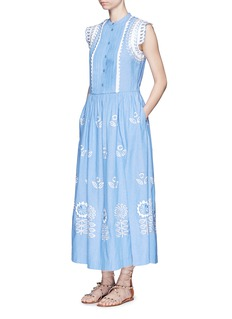 Temperley London 'Gilda' floral embroidery sleeveless chambray maxi dress