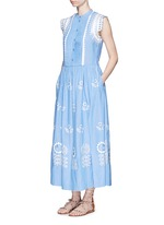 'Gilda' floral embroidery sleeveless chambray maxi dress