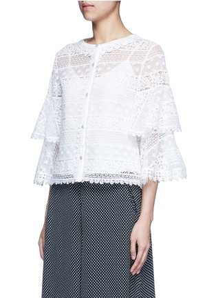 Front View - Click To Enlarge - Temperley London - 'Desdemona' bell sleeve floral lace blouse