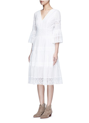 Front View - Click To Enlarge - Temperley London - 'Desdemona' inset floral guipure lace pleat dress