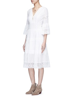 Temperley London 'Desdemona' inset floral guipure lace pleat dress