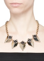 'Veruschka' mother of pearl onyx optical illusion necklace