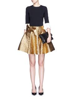 LANVINWrapped bow cotton lamé flare skirt