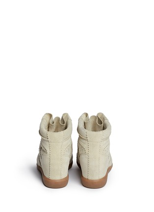 Back View - Click To Enlarge - Isabel Marant Étoile - 'Bobby' perforated suede concealed wedge sneakers