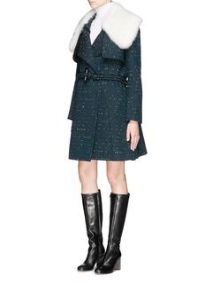 CHLOÉDetachable fur collar bouclé tweed trench coat