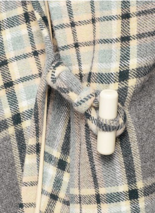 Detail View - Click To Enlarge - Chloé - Check plaid fringe blanket cape coat