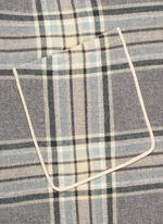 Check plaid fringe blanket cape coat