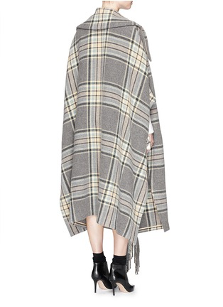 Back View - Click To Enlarge - Chloé - Check plaid fringe blanket cape coat
