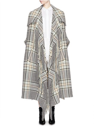 Main View - Click To Enlarge - Chloé - Check plaid fringe blanket cape coat