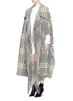 Figure View - Click To Enlarge - Chloé - Check plaid fringe blanket cape coat