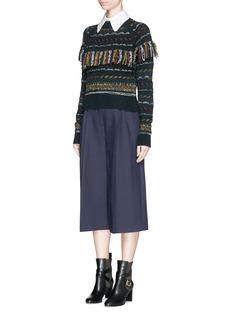 CHLOÉSpeckle stripe knit fringe wool sweater
