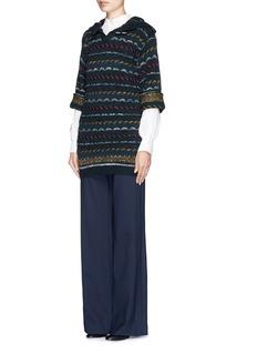 CHLOÉSpeckle stripe knit hood sweater