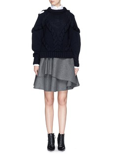 ALEXANDER MCQUEENAsymmetric peplum layer wool felt skirt