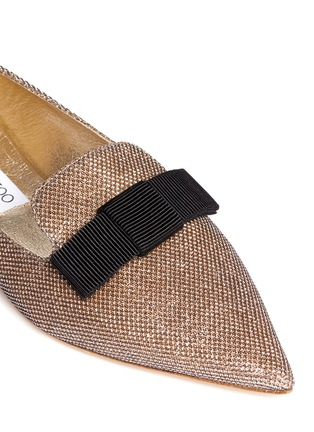 Detail View - Click To Enlarge - Jimmy Choo - 'Gala' lamé glitter grosgrain bow flats