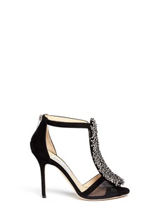 JIMMY CHOO 'Feline' crystal bead suede mesh panel sandals