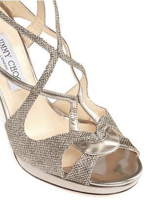 Detail View - Click To Enlarge - Jimmy Choo - 'Vidane' lamé glitter mirror leather sandals