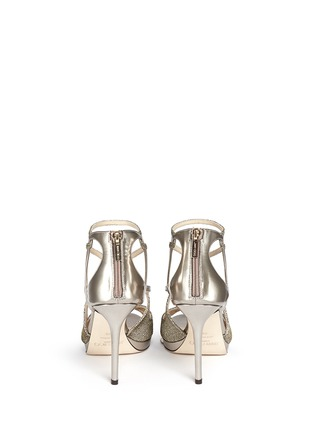 Back View - Click To Enlarge - Jimmy Choo - 'Vidane' lamé glitter mirror leather sandals