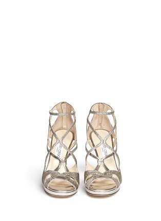 Figure View - Click To Enlarge - Jimmy Choo - 'Vidane' lamé glitter mirror leather sandals