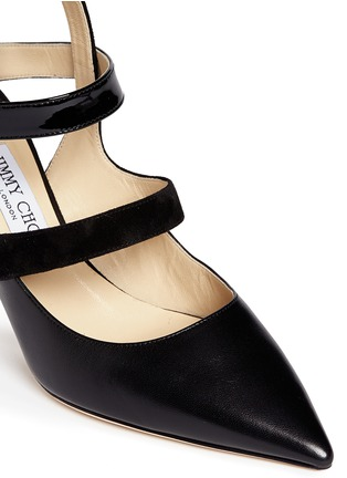 Detail View - Click To Enlarge - Jimmy Choo - 'Driss' caged mix leather pumps