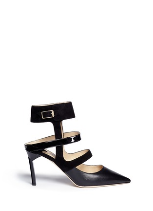 Main View - Click To Enlarge - Jimmy Choo - 'Driss' caged mix leather pumps