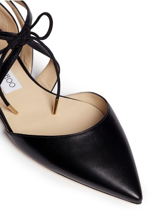 Detail View - Click To Enlarge - Jimmy Choo - 'Lyssa' d'Orsay leather lace-up skimmers