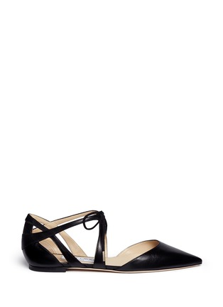 Main View - Click To Enlarge - Jimmy Choo - 'Lyssa' d'Orsay leather lace-up skimmers