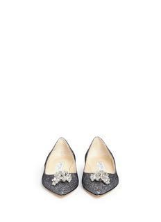 JIMMY CHOO'Gayne' crystal toe brooch lamé glitter flats