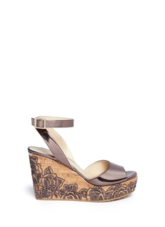 JIMMY CHOO 'Philo' cork wedge mirror leather sandals