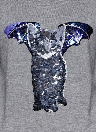 Detail View - Click To Enlarge - MARKUS LUPFER - 'Catbat' sequin Nat sweater