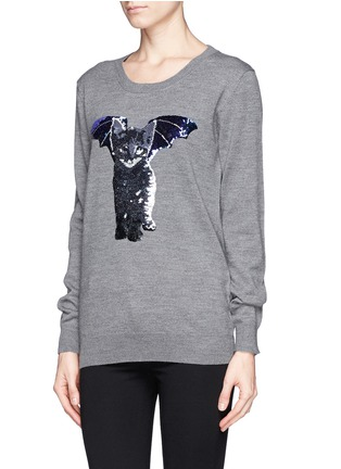 Front View - Click To Enlarge - MARKUS LUPFER - 'Catbat' sequin Nat sweater