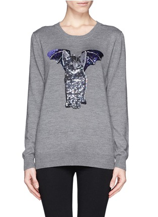 Main View - Click To Enlarge - MARKUS LUPFER - 'Catbat' sequin Nat sweater