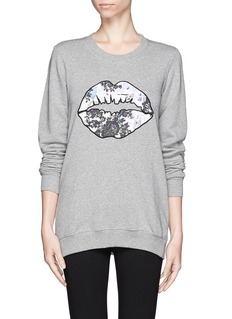 MARKUS LUPFERLace graffiti smacker lip applique sweatshirt