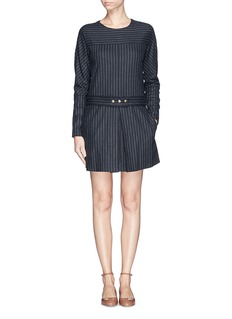 SEE BY CHLOÉChalk stripe pleat wool blend dress