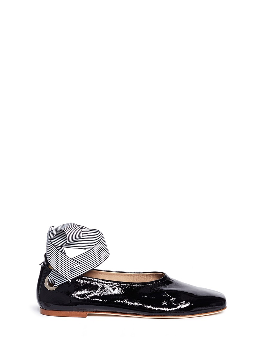 Stripe ankle tie patent leather flats by Fabio Rusconi
