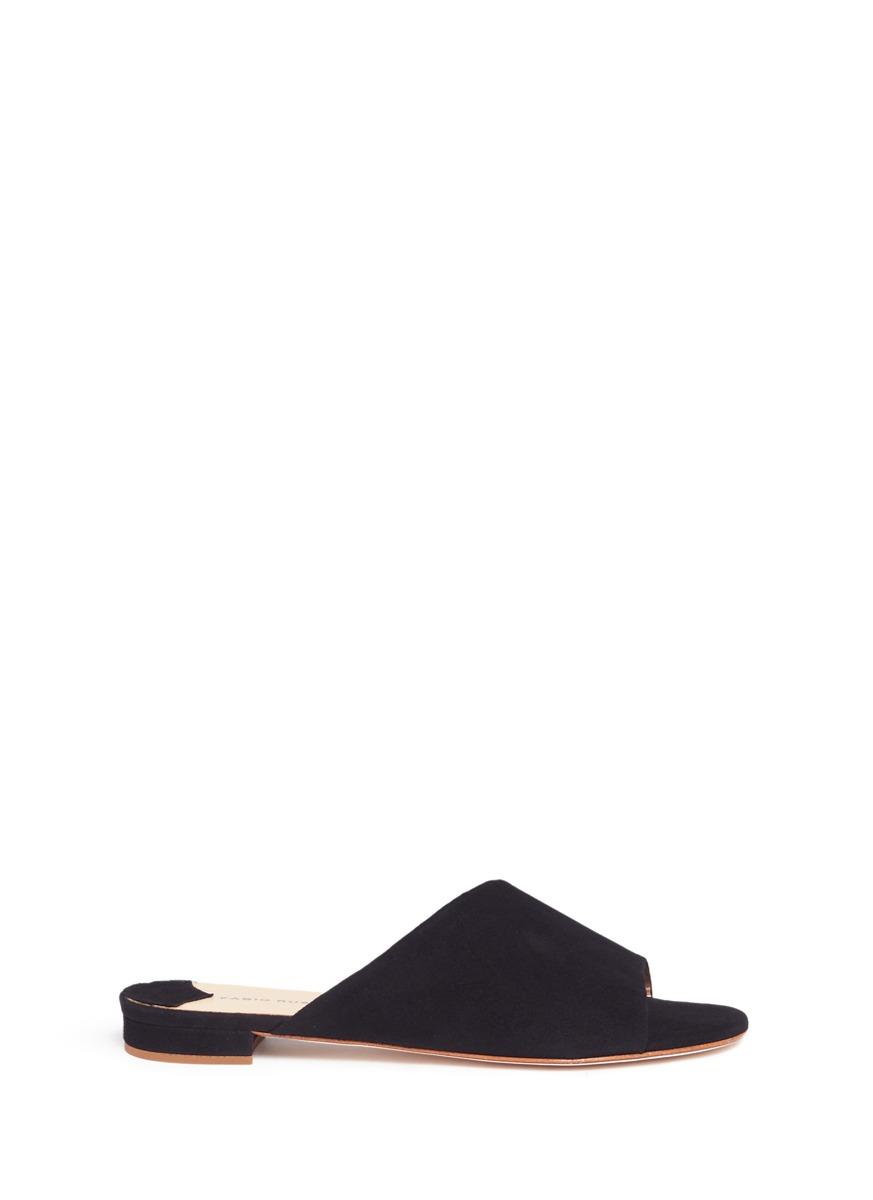 Slanted vamp suede slide sandals by Fabio Rusconi