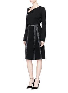 ALTUZARRASTEELE铆钉条带绉绸半身裙